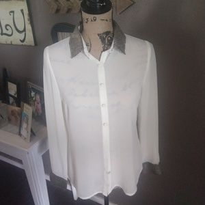 Blu Pepper Sheer Ivory Button Down S